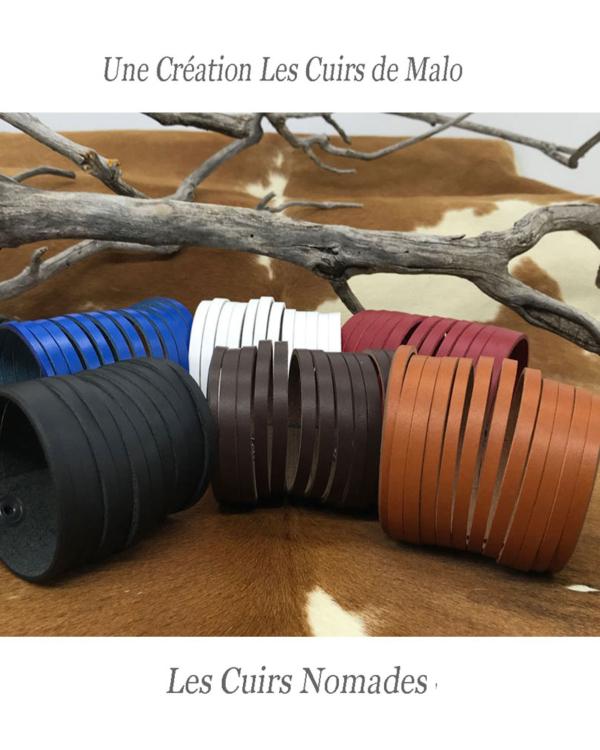 Bracelet-Manchette cuir Modèle INDIANA 12 Brins